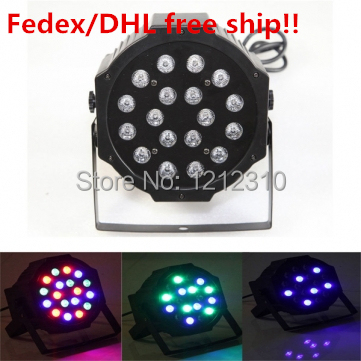 DHL Free ship RGB DMX 512 Stage Lights Business Lights Led Flat Par High Power Light with Professional for Party KTV Disco DJ