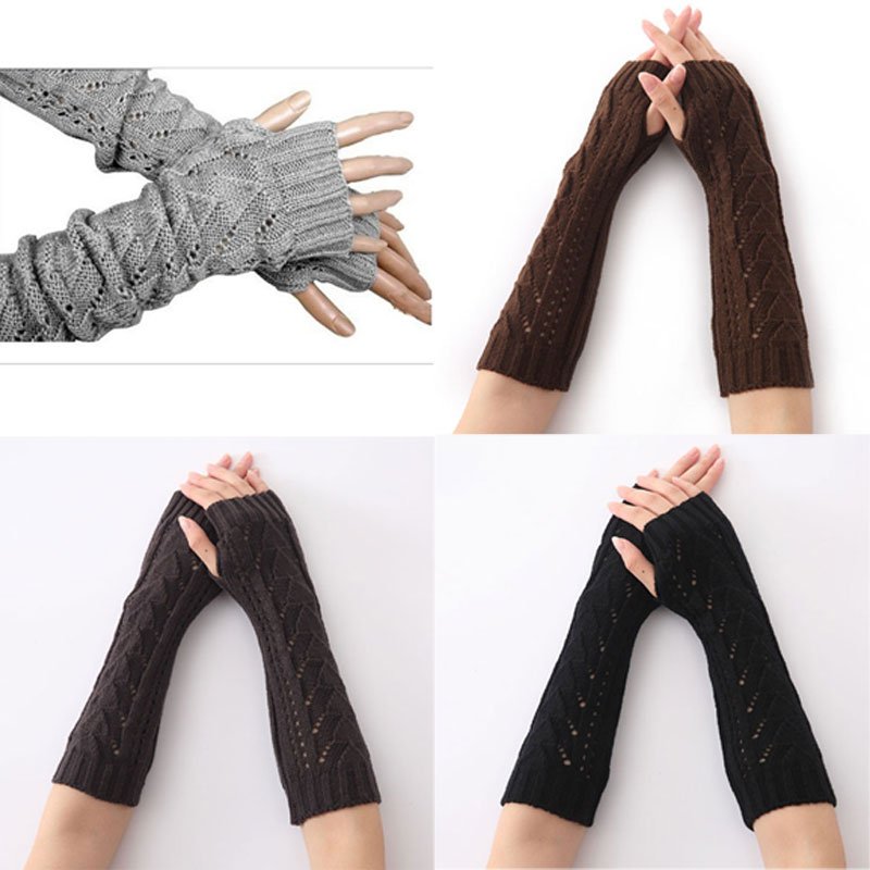 1Pair Women Winter Long Gloves Knitted Fingerless Gloves Half Hollow Arm Sleeves Guantes Mujer LF88