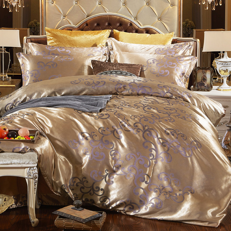 2019 Set de lenjerie de pat set Jacquard plapuma set auriu închis auriu 4pcs / Set de lenjerie de pat de lux lenjerie de pat regina rege dimensiune pat de adult set