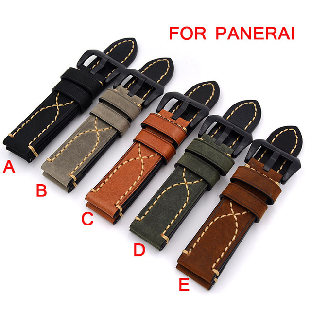 1PCS 20mm/22mm/24mm/26mm Retro Leather Watchband, Rough Crazy Horse Leather Strap Bracelet For Panerai