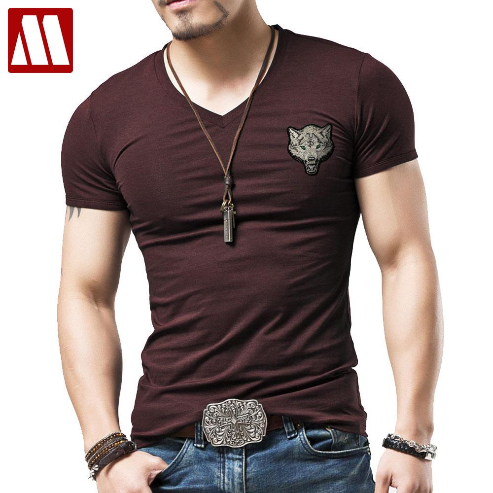 2015 new real camisa solid polo shirt mens fashion cool design short - Summer Hot Sale Cool Embroidered Direwolf T Shirt Fashion Animal Creative T Shirt Novelty Design Wolf Men T Shirts Plus Size 5xl