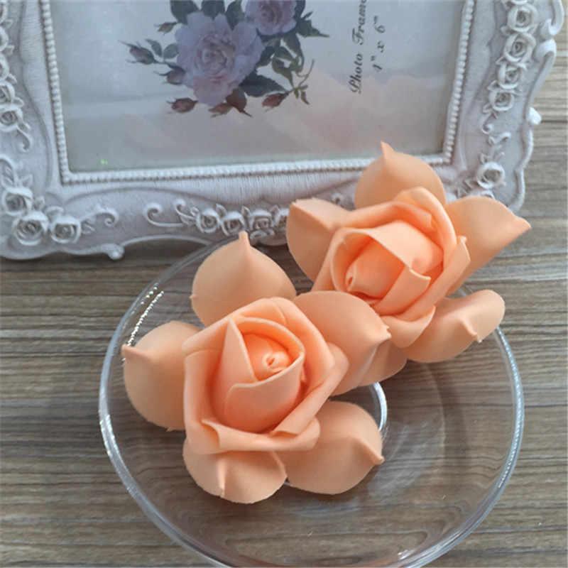 6 CM 3 pcs Foam Flowers PE Artificial Pink For Wedding Car Decoration DIY Pompom Garland Decorative Valentine's Day Fake Flowers