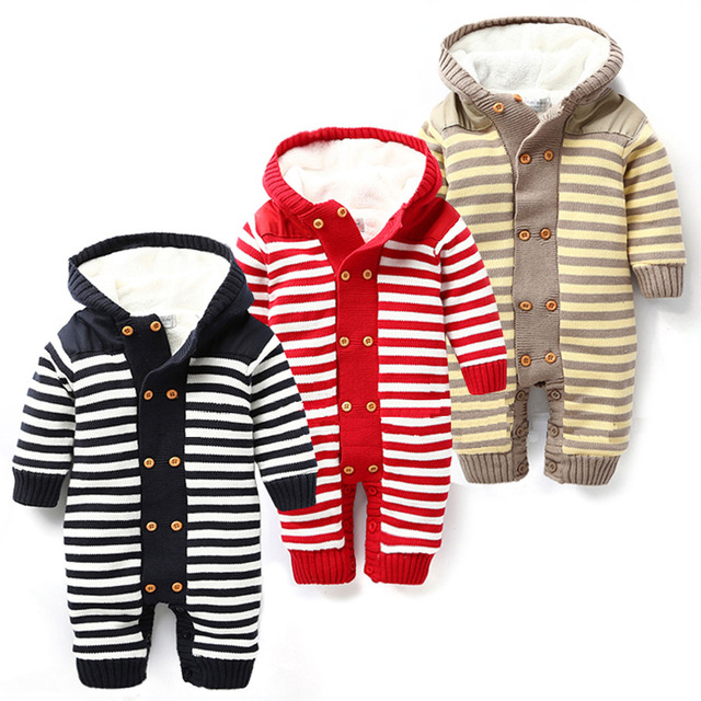 Baby Romper  New Arrive Winter Soft Unisex black red yellow striped Knitting Thicken Hooded Warm Clothing Roupas De Bebe