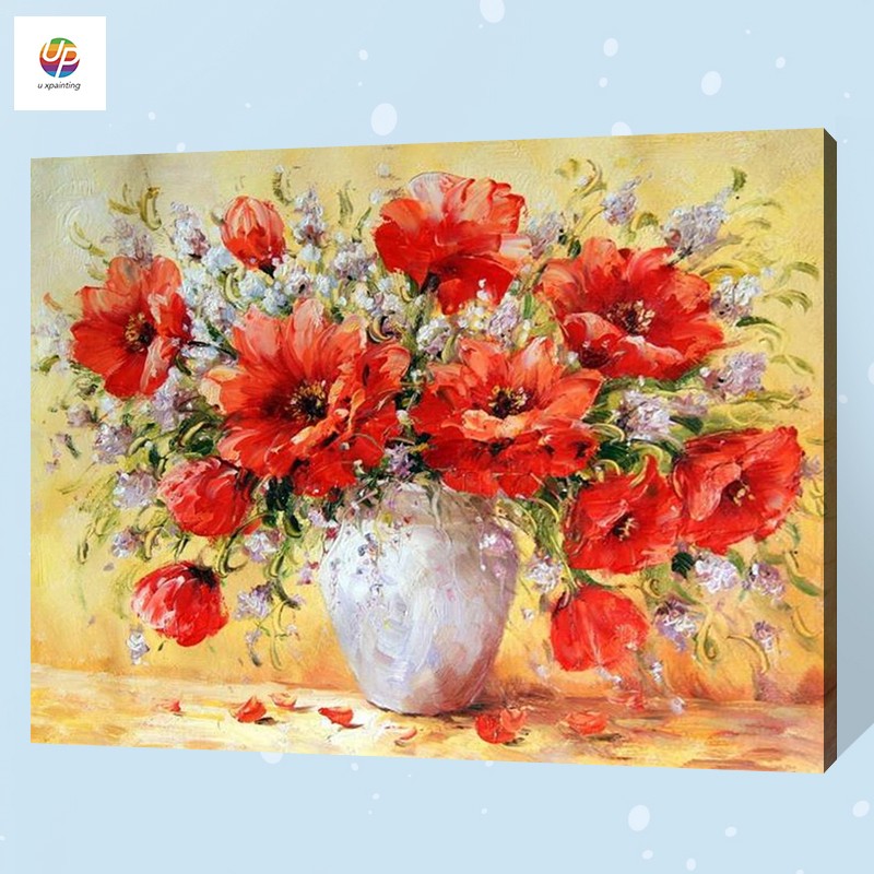 Online Shop Frameless Digital Painting By Number Poppy Vase Flower