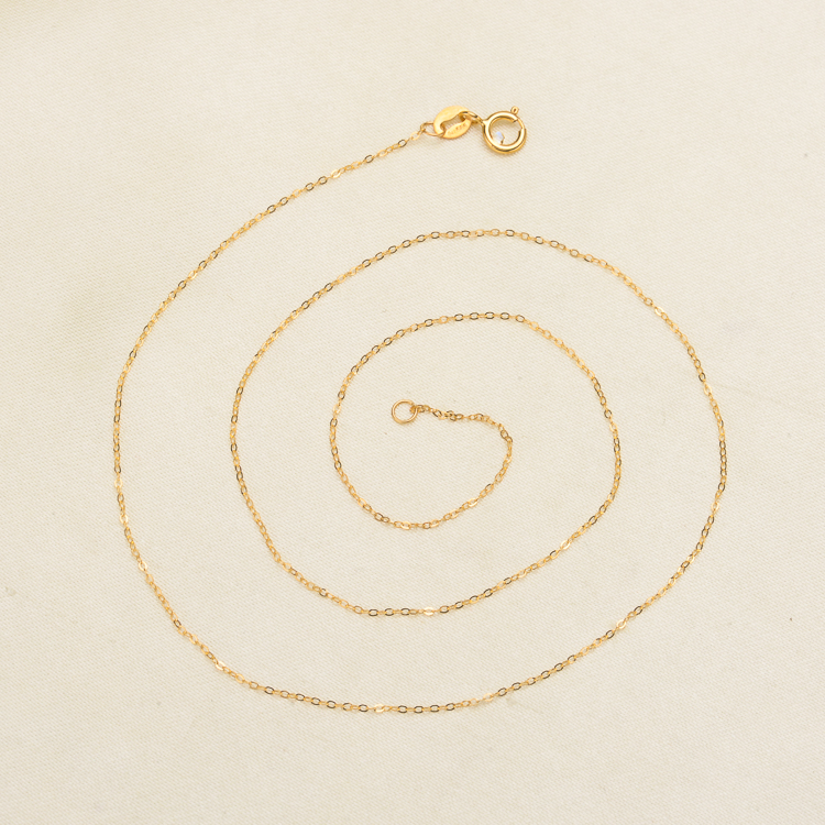 Genuine 18K White Yellow Gold Chain Necklace Pendant 18 inches au750 jewelry necklace Women nice gift