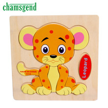 Высокое Качество Деревянных Леопарда Головоломки Обучающие Развивающие Baby Дети Обучение Игрушки Aug24