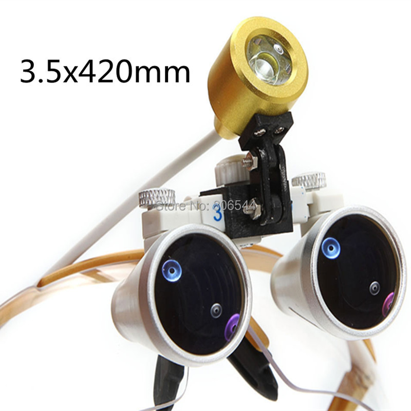 Free shipping 3.5X320 gold Dentist Dental Surgical Binocular Loupes Optical with Portable LED Head Light Lamp gold  WE red free shipping new 2 5x420 magnifier dentist dental surgical binocular loupes optical and portable led head light lamp 2015 a