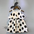 summer new polk dot print baby girls dress lovely girls party dress  costume suit 2-7T white roupas infantis menina