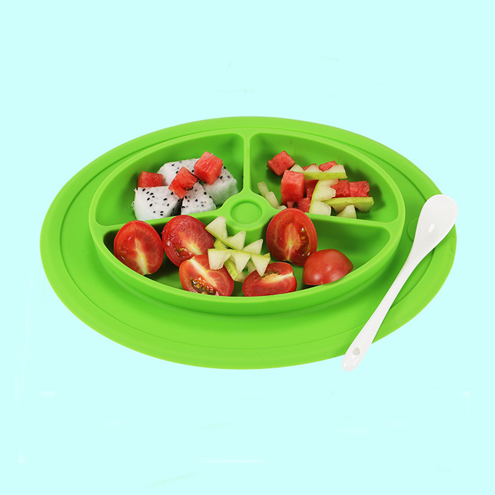 5 Colors Kids One Piece Silicone Placemat Plate Dish Food Tray Table Mat for Baby Toddler Table Decoration Accessories F925 ...