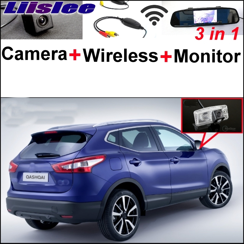 Liislee Special Rear View Camera  Wireless Receiver + Mirror Monitor Easy Parking System For Nissan Qashqai J11 Dualis 2012~2017 3 in1 special rear view camera wireless receiver mirror monitor easy diy backup parking system for jeep liberty 2002 2007