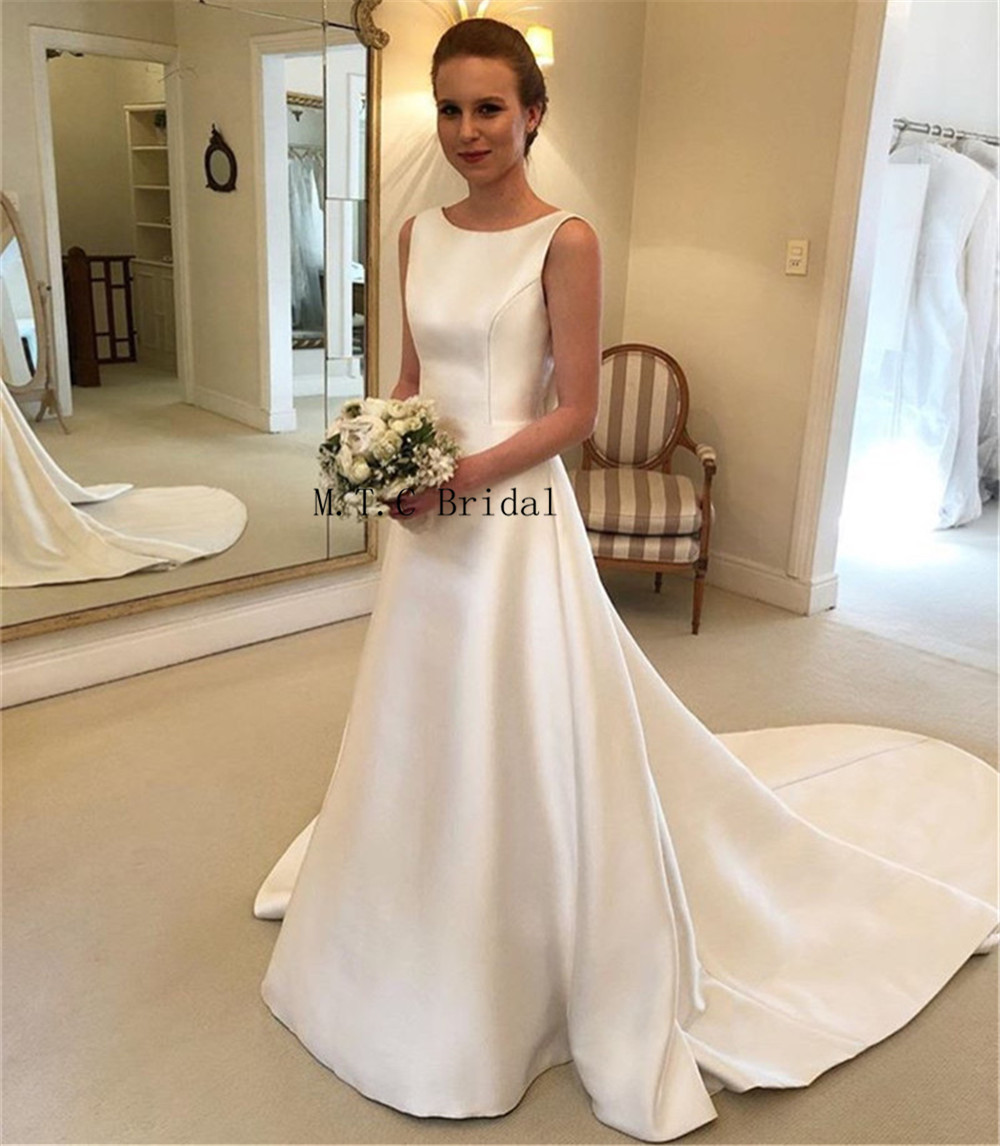 Wonderful White Satin Backless Wedding Dresses 2019 Sweep Train Big Bow A Line Simple Long Bridal