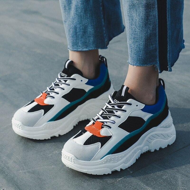 2e6247eb246535 Automne Course Chaussures Simples Mélangée Ins Sneaker Harajuku Sauvage Bleu  Femmes Blanc Sneakers 2018 Femme De rose Style Nouvelle Maladroit Couleur  ...