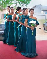 South African Teal Long Bridesmaid Dress Mermaid Embroidery Lace Applique Different Style Maid Of Honor Gowns 2019 Latest