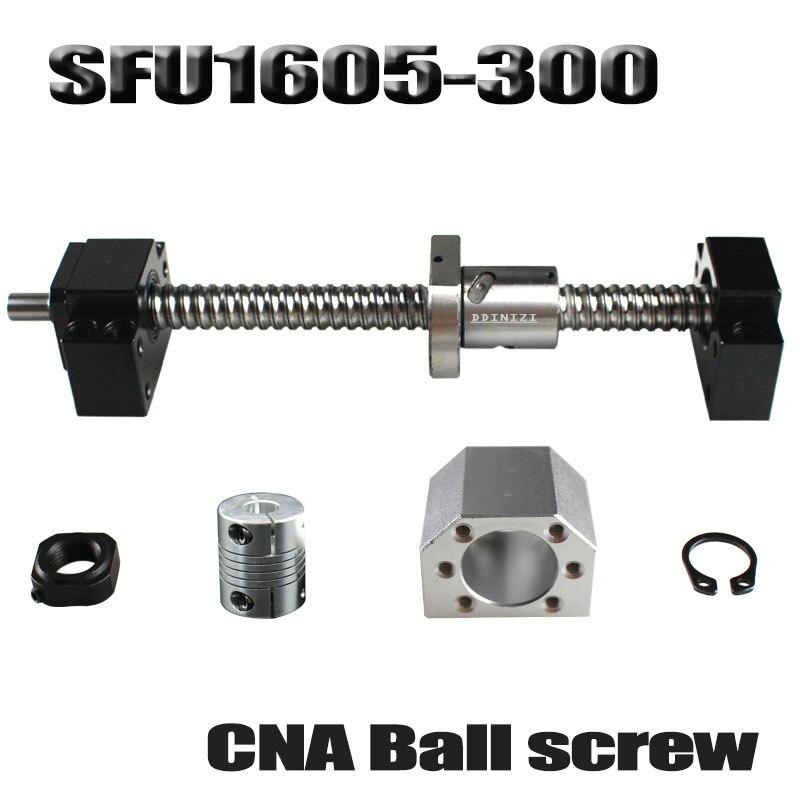 ボールねじ 300 ミリメートル SFU1605 転造ボールねじ機械加工端部と C7 + 1605 ボールナット + ナット + BK /BF12 エンドサポート + カプラ RM1605  グループ上の 家のリフォーム からの リニアガイド の中 1