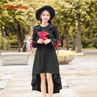 Japan Style Harajuku Black Gothic Irregular Dress Long Sleeve Bow Bandage Cosplay Girl's Party Dress