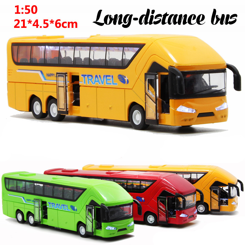 1:50 21cm cool long-distance coach bus tourist bus car alloy model acousto-optic pull back children game toy