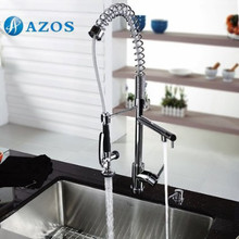 AZOS Kitchen Sink Faucet Brass Spring Pull Down Spout Single Hole Deck Mount Chrome Polish Hot Cold Mixer CFDH010