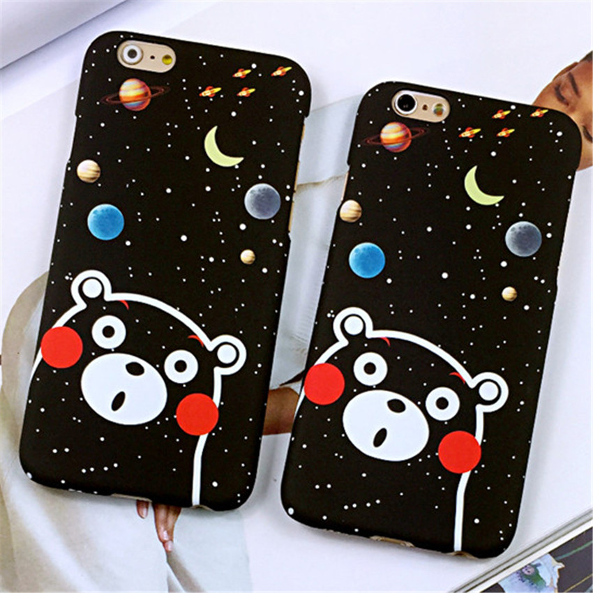 Cute Animal Cartoon Bear Case Bright Sky Moon Stars Capa Coque Matte Hard Phone Cases Cover For iPhone 5 5G 5S 6G 6S Plus 6Plus