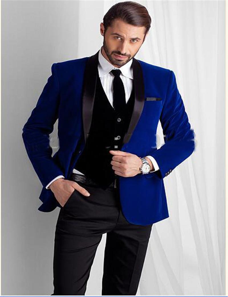 Men Wedding Groom Bespoke Blue Black Velvet 4PC Suit Coat Pant Tie ...