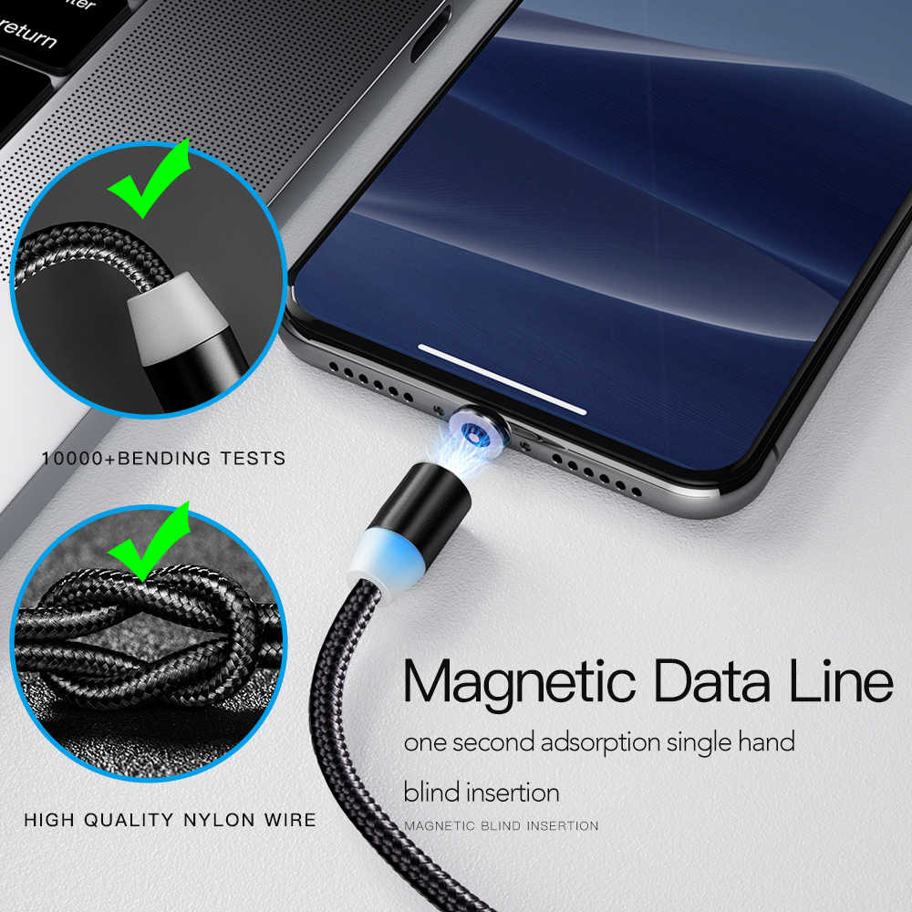 1M LED Magnetik Cepat Pengisian Kabel untuk iPhone XR X Max Samsung Xiaomi Usb Mikro Tipe-C Magnetik USB Ponsel Charger Kabel