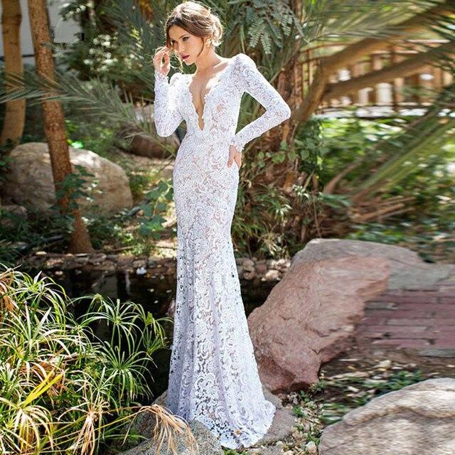 Elegante Boho Brautkleider 2017 Long Sleeve Backless Spitze Dunne