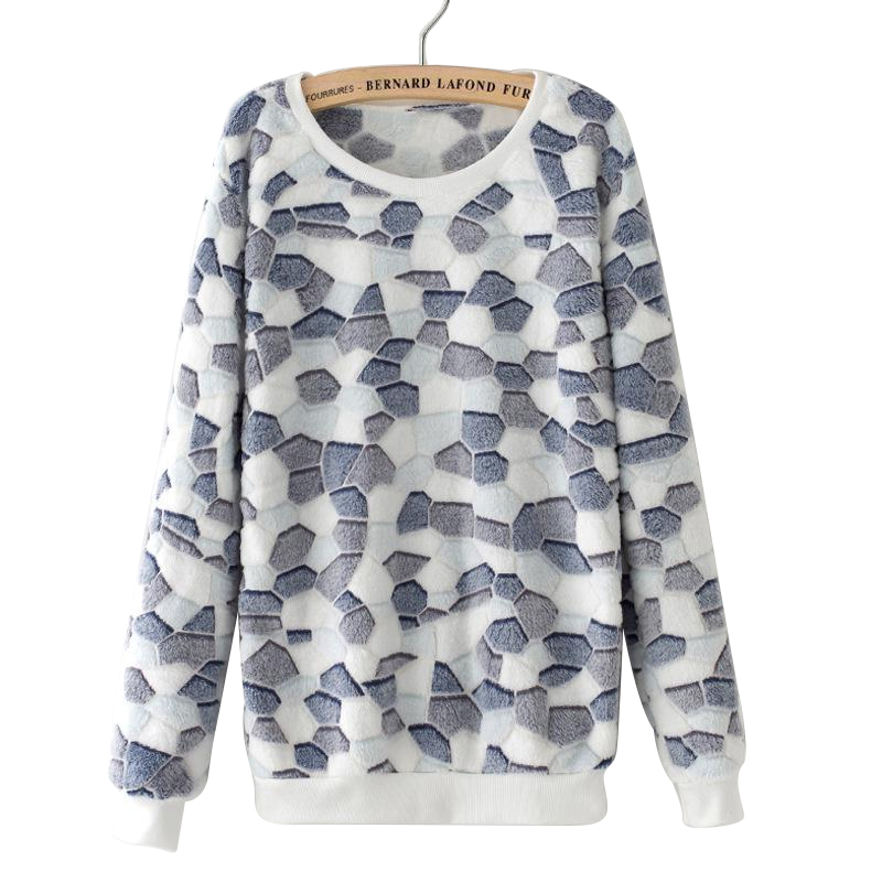 Autumn And Winter New Cartoon Smiles Face Printed Cashmere Sweater Loose Large Size Women's Round Neck Casual Top