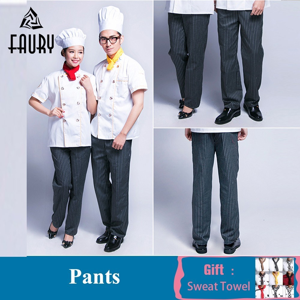 Unisex Chef Work Pants Striped Elastic Waist Cozinha Hotel Cook Waiter Workwear Food Service Kitchen Trousers Free Scarf Gift