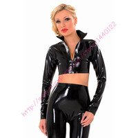 Latex Rubber Women Tops With Front Zipper Sexy Full Sleeves Latex Shirt Plus Size Hot Sale S XXL Customize Service