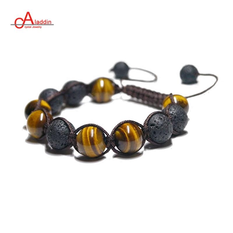 Aladdin  2018 New Punk Style Handmade Chakra Bracelets Nature Yellow Tiger Stone and Lava Bead Bracelet for male gift