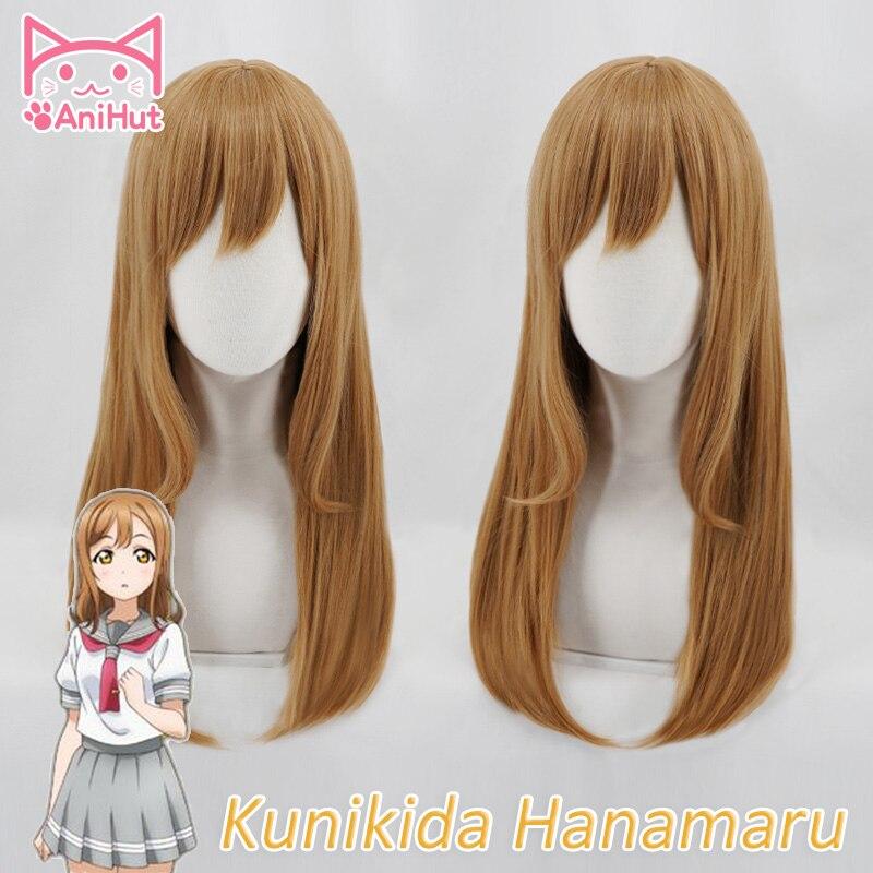 AniHut Kunikida Hanamaru Wig Love Live Sunshine Cosplay Wig Blonde 60cm Synthetic Hair Kunikida Hanamaru Cosplay Hair LoveLive