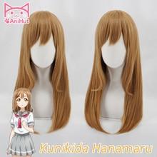 【Anihut】 Kunikida Hanamaru peruka kochaj życie Sunshine peruka do Cosplay blond 60cm włosy syntetyczne Kunikida Hanamaru Cosplay włosy LoveLive