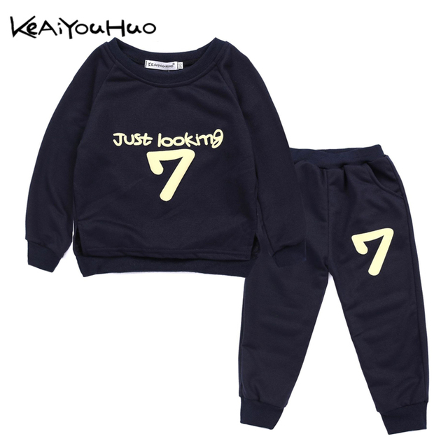 9278f3de977ad US $5.98 30% OFF|Aliexpress.com : Buy KEAIYOUHUO Autumn Winter Kids Boys  Girls Clothes Letter Printing T shirt+Pants 2pcs Outfit Christmas Suit ...
