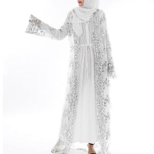 Image 3 - 2020 アバヤドバイ高級ハイクラススパンコールイスラム教徒ドレス刺繍レースラマダンカフタンイスラム着物女性のトルコイードムバラク