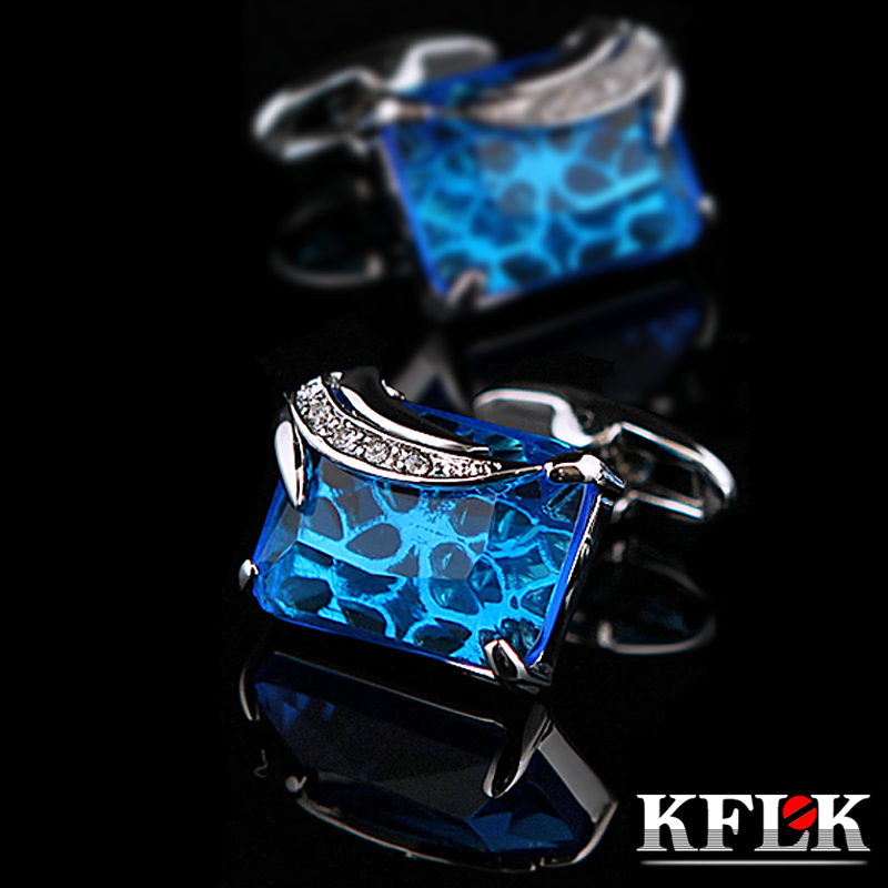KFLK Jewelry shirt cufflinks for mens Gift Fashion Luxury Wedding Brand Blue Cuff link Novelty Button High Quality Free Shipping savoyshi low key luxury shirt cufflinks for mens high quality square brown stone cuff links brand jewelry gift free custom name