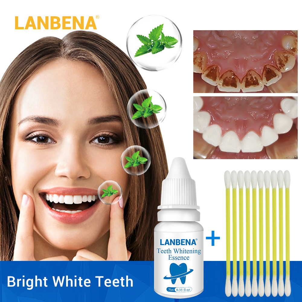 LANBENA Teeth Whitening Essence Powder Oral Hygiene Cleaning Serum Removes Plaque Stains Tooth Bleaching Dental Tools !