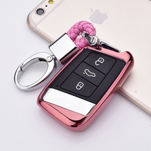 Soft TPU Car Key Case Auto Protection Cover For  VW Magotan B8 330TSI Holder Shell Colorful Car-Styling Accessories