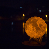 3D Printed Moon Lamp LED Baby Night Light 13cm Wooden Base Touch Sensor Control 2 colors moon lamp light