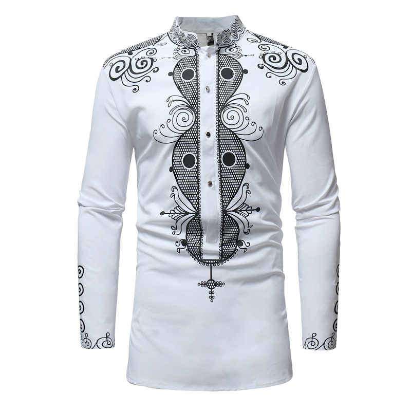 da82ae62cd7 African Clothing African Dashiki Traditional Maxi Shirt Men Stand Collar  Long Sleeve Dress Shirt African Clothes Chemise Homme