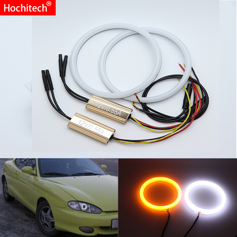 for hyundai Tiburon coupe 1996 1997 1998 1999 White & Amber Dual color Cotton LED Angel eyes kit halo ring DRL Turn signal light