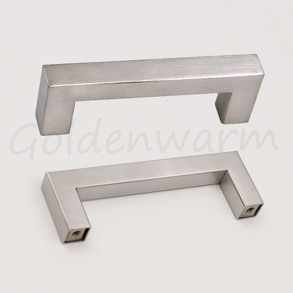 3 Inch Hole Centers Drawer Pulls Brushed Nickel LSJ12BSS76 Square Bar  Kitchen Cabinet Door Handles Stainless Steel 1 Piece