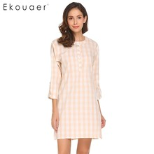 Ekouaer Women Casual Nightgown 3/4 Sleeve Nightshirt Plaid Nightdress Sleep Dress Lounge Sleepwear Female Nightwear Home Clothes