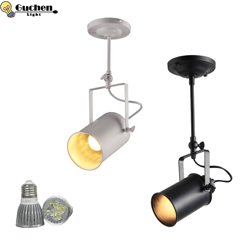 Us 15 75 37 Off Led Spotlights American Vintage Loft Pendant Light Iron Lamp E27 Spotlight Mercantile Lighting For Bar Cafe Window In