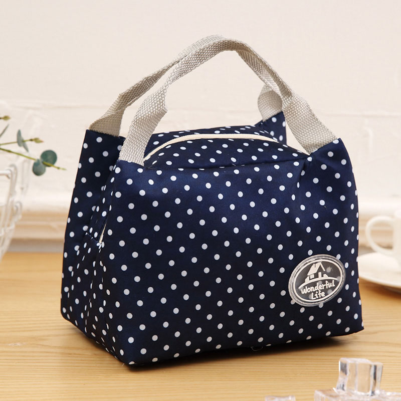 Fashion Simpl Etriped Dot Portable Lunch Box Bag Thermal Insulated Cold Keep Food Safe Stripe Warm Lunch Bags For Girls Women