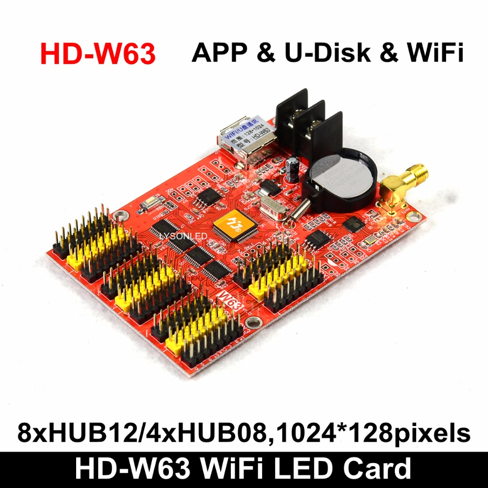 Huidu HD-W63 USB-Disk+Wifi P10 LED Display Module Control Card, LEDART APP Single & Dual Color LED Display Controller Board