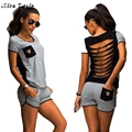 Women Summer Clothing Set Back Strap Hollow Out Top+ Shorts Outfit Workout Suit Clothes #2625