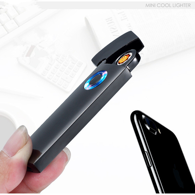Ultra Thin USB Lighter Rechargeable Electronic Lighter All Metal Frosted LED Light Cigarette Accessories Turbo Lighter Plasma