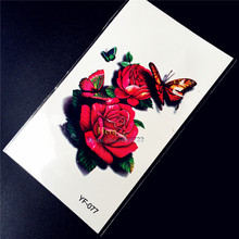 Henna Flower Waterproof Temporary Tattoo Red Color Sexy Women Makeup Tattoo Paste Wall Sticker Jewelry Henna Paste HYF-077