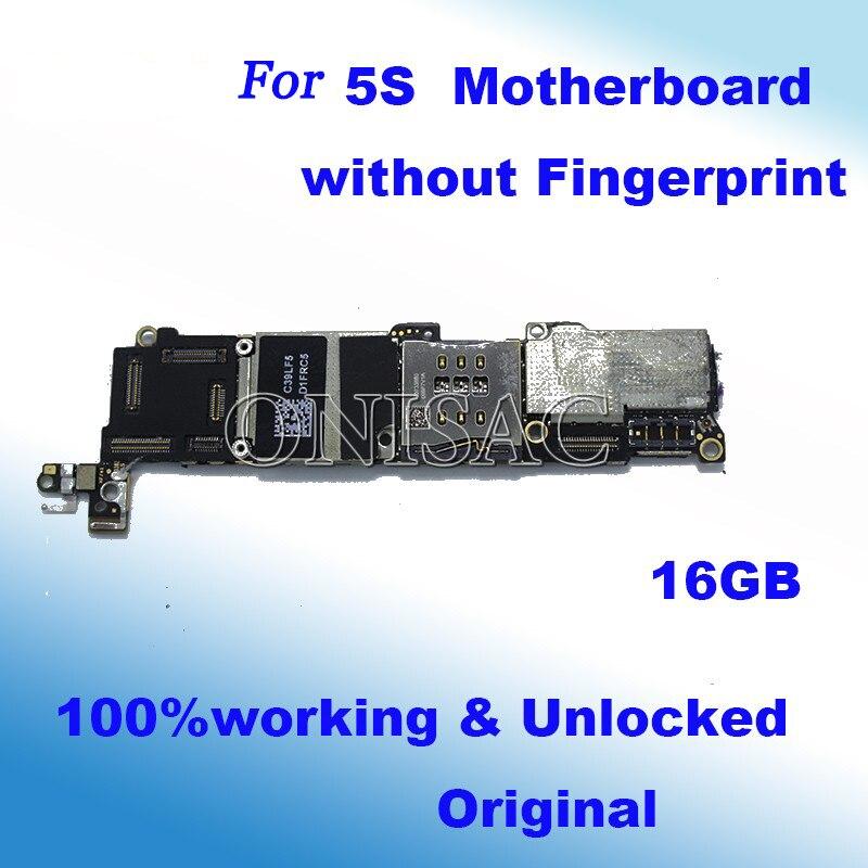imágenes para 16 GB 100% Abierto Original Oficial sin Touch ID Placa Madre Para el iphone 5S Buenas Mainboard Con Chips de la placa lógica