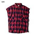 2016 Nuevos de Primavera y Verano de Alta de la calle Mens Fashion Plaid Camisa de Los Hombres camisas de Los Hombres Camisa de Manga Corta de Slim Fit Cremalleras Laterales Para masculino