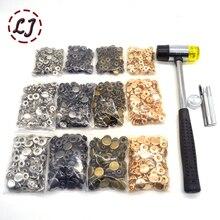 4 가지 색상 (각 30 세트) 스냅 버튼 + 4 도구 금속 프레스 스터드 스냅 패스너 재봉 용 가죽 공예 의류 가방 팔찌 벨트